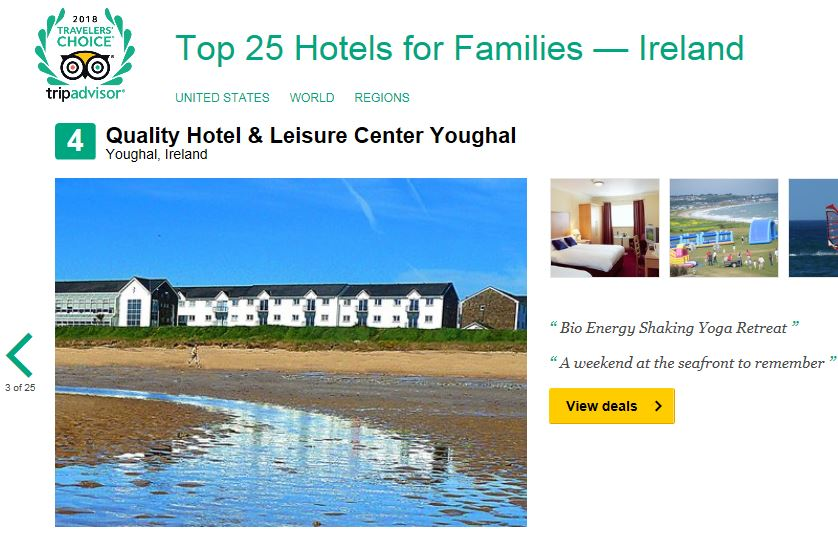 Quality Hotel & Leisure Centre Youghal named No 4 in Top Hotels for Families in Ireland